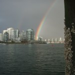 rainbow over downtown Vancouver